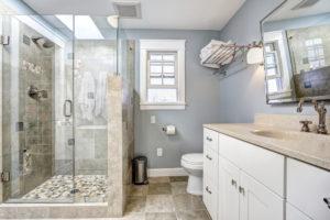 Tile shower and floors in Orange County Bathroom